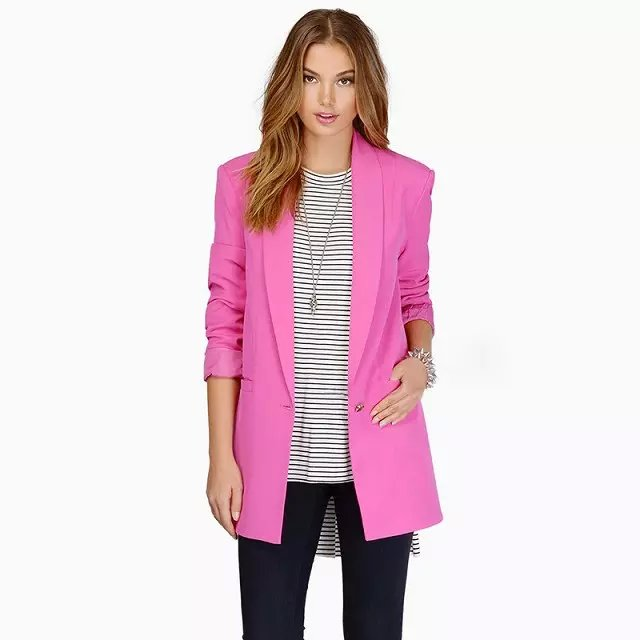Fashion office lady pink long sleeve pocket button long ...