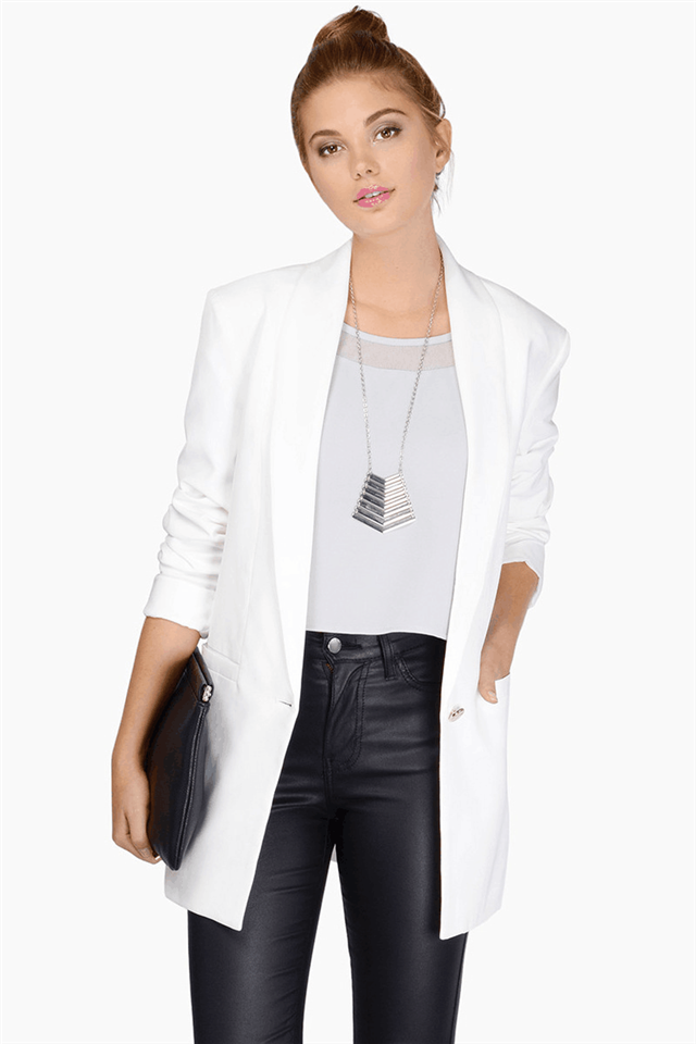 Fashion office lady white long sleeve pocket button ...