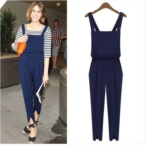 Fashion Playsuit Black Blue School Style Long Pants ...