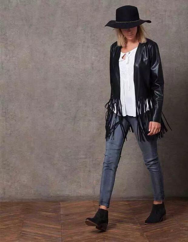Fashion Punk Style Autumn Women elegant black fringe ...