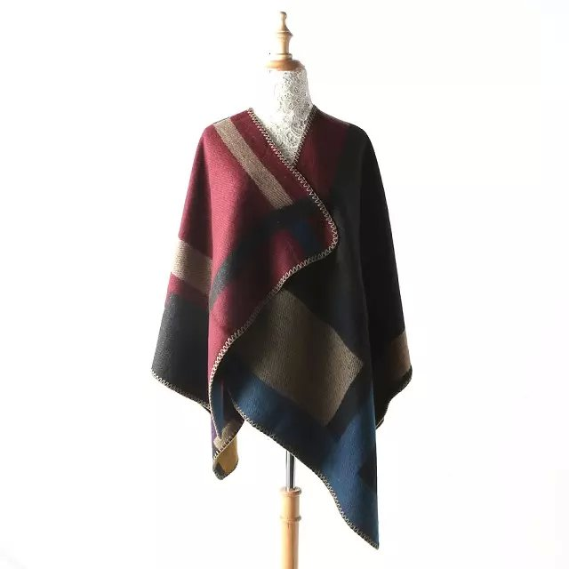 Fashion Scarf For Women Winter Cashmere Color Blocking ...