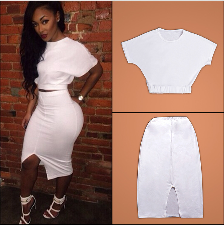 Fashion Sexy White T-Shirt + Skirt Women Two Piece Dress ...