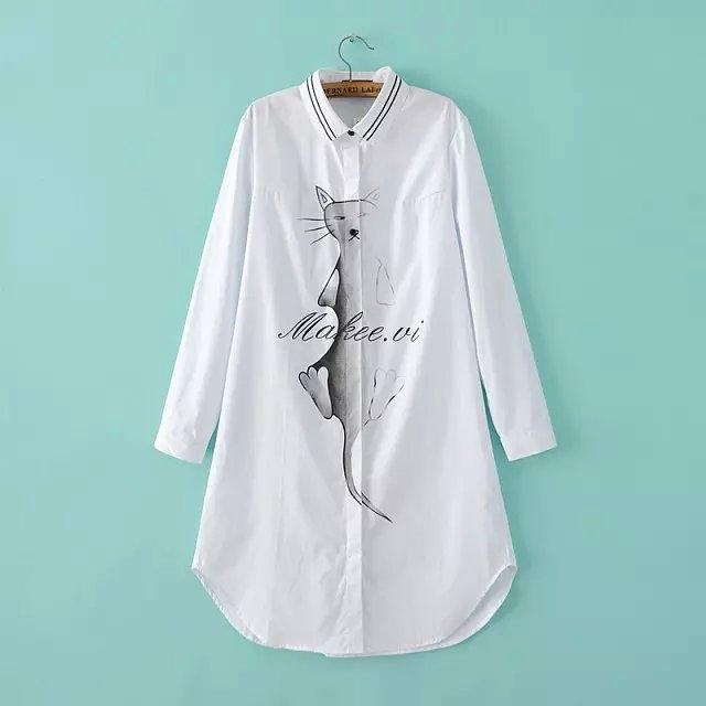 Fashion spring Women Casual white Cat print long Shirt ...