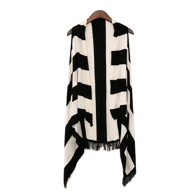 Fashion Spring women Irregular Tassel Knitted Striped ...