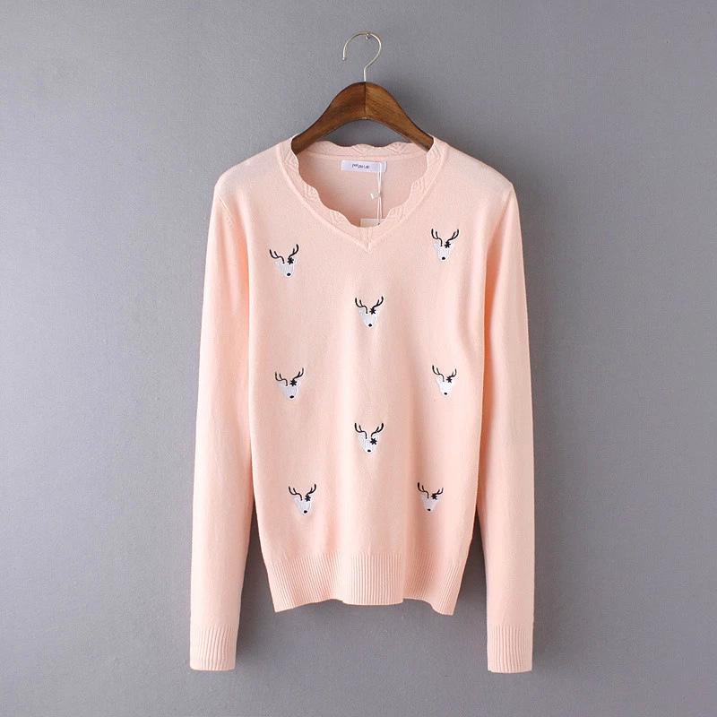 Fashion Spring Women sweet pink deer Embroidery V-neck ...