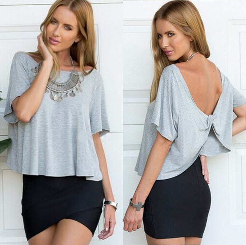 Fashion Summer sexy Gray back bow O-neck backless T-...