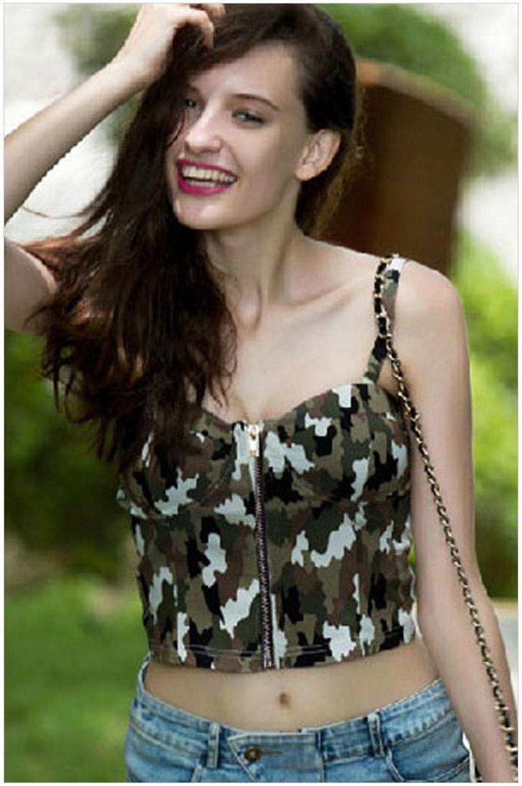 Fashion summer women elegant Camouflage print zipper ...