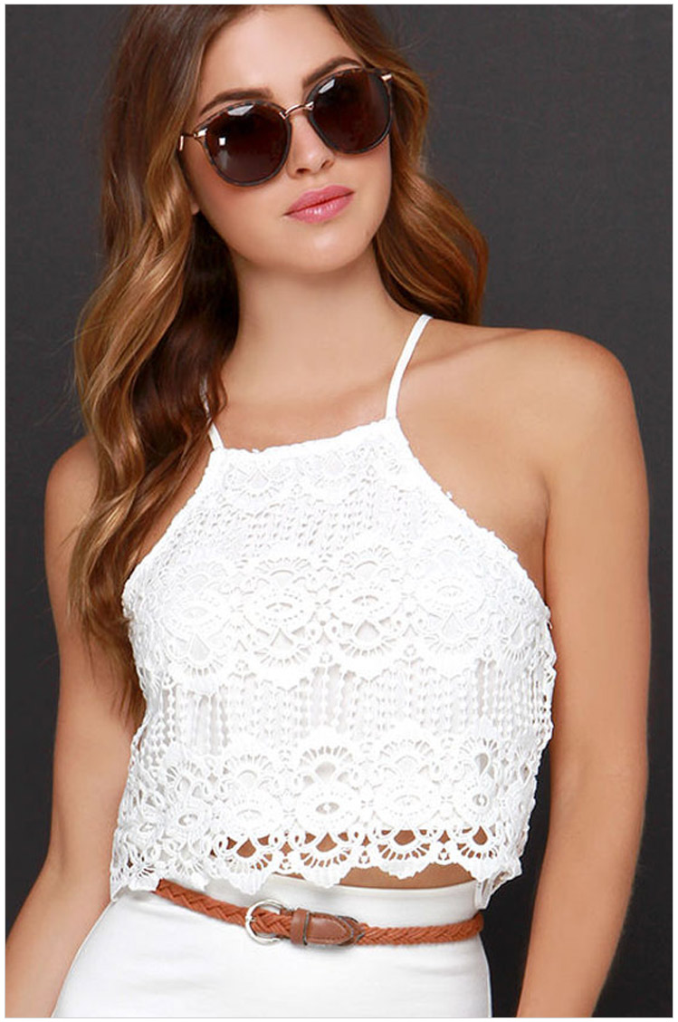 Fashion summer women elegant lace hollow out sexy backless ...