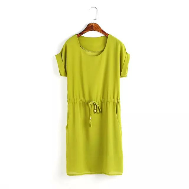 Fashion Summer Women O neck Drawstring green Pocket ...