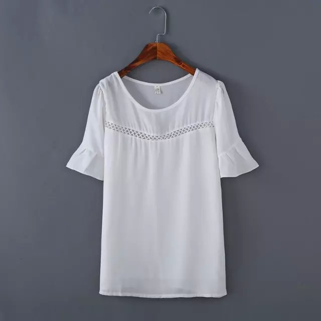 Fashion Summer Women ruffle white Sexy Lace Hollow out ...