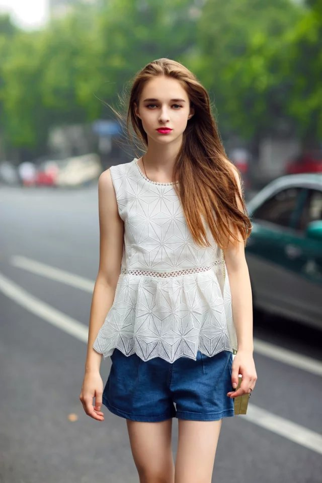 Fashion Summer Women Sexy Lace Hollow out blouses O ...