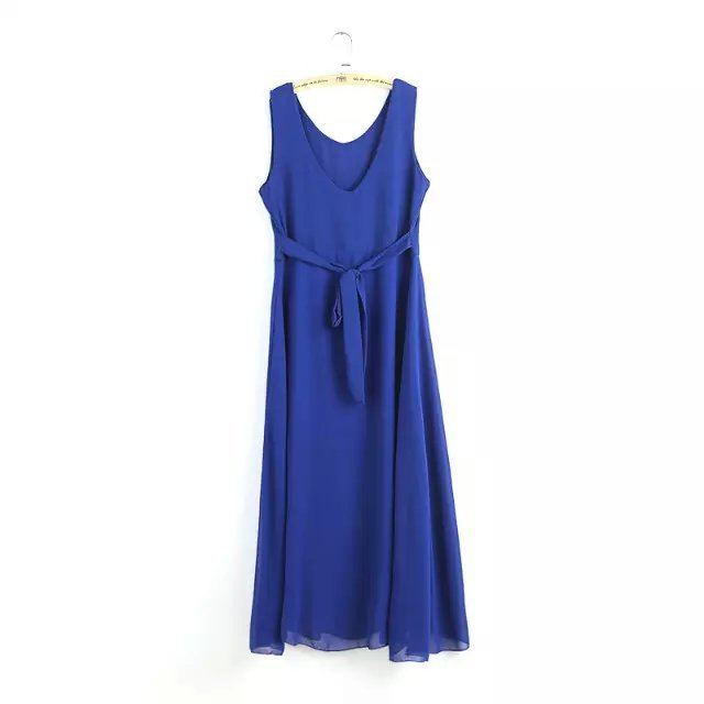 Fashion Summer Women V neck with belt Blue long Dresses ...