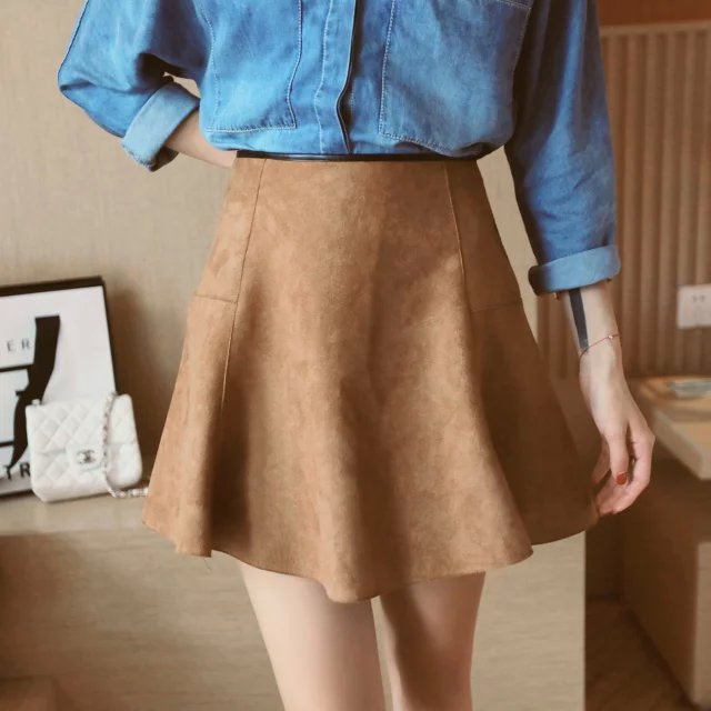 Fashion Winter Faux Suede High Waist Mini Pleated ladies ...