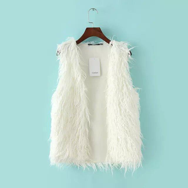 Fashion winter white elegant Faux Fur vest Jacket for ...