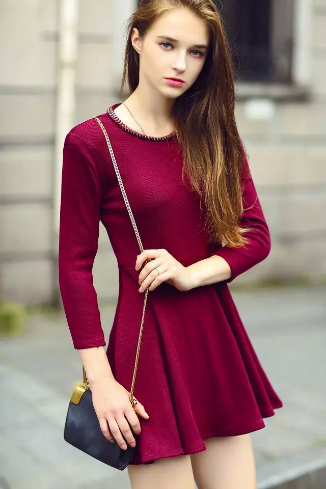 Fashion Winter Women Beading Neck Red Dresses Big Stretch ...