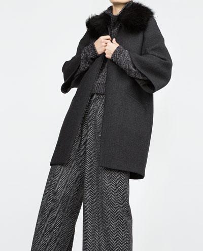 Fashion Winter Women Black Coats Woolen Zipper pocket ...