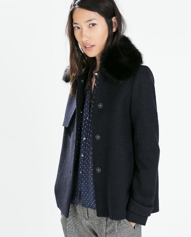 Fashion Winter Women Blue pocket Coats Woolen button ...