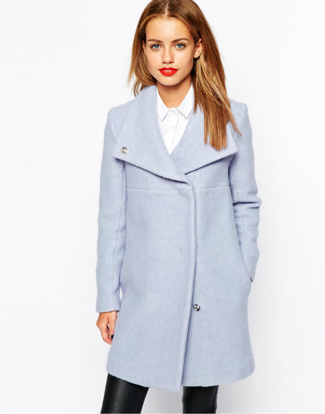 Fashion Winter Women blue Pockets woolen Female overcoat ...