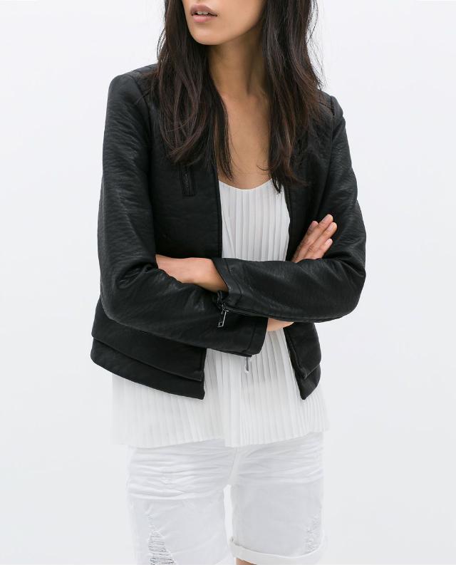 Fashion Winter Women Cool black Faux leather Short jacket ...