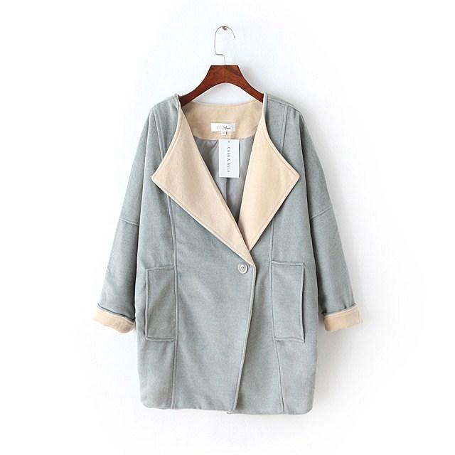 Fashion winter women elegant Blue pockets button coats ...