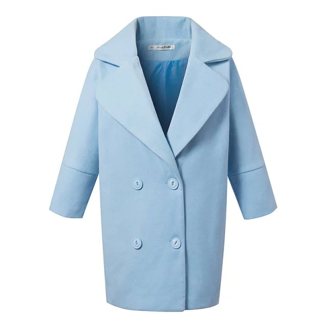 Fashion Winter Women Female overcoat Blue Double Breasted Woolen Long Sleeve turn-down collar Brand Femininos