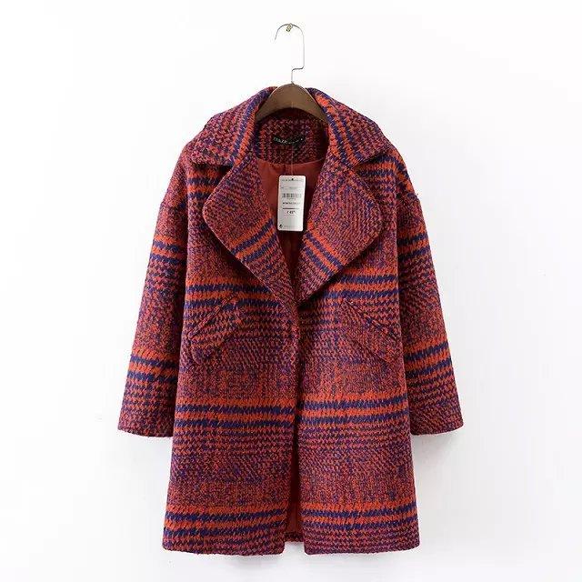 Fashion Winter Women Female overcoat Orange plaid pattern ...