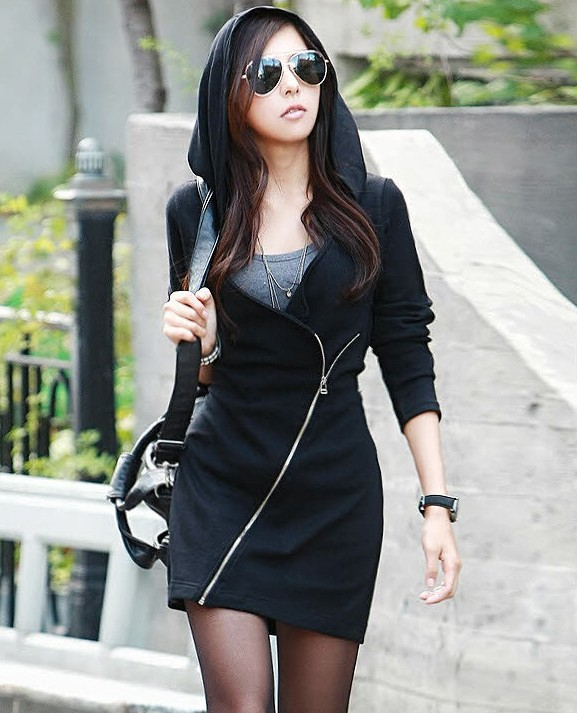 Fashion Winter women Hooded Dress Black Vintage long ...