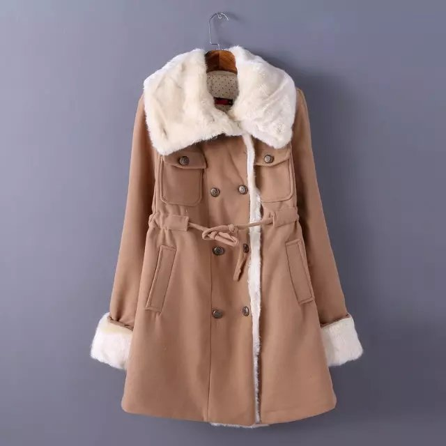 Fashion Winter Women khaki Drawstring pocket Coats Woolen ...