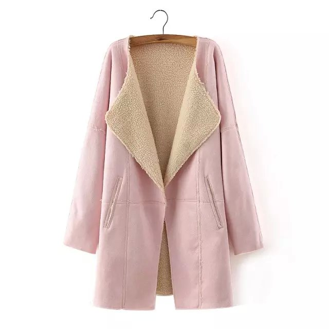 Fashion Winter Women Pink Coats Faux Leather Sleeve ...