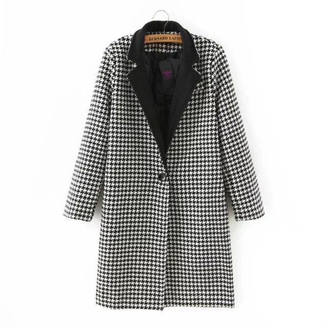 Fashion Winter Women plaid pattern Pocket single button ...