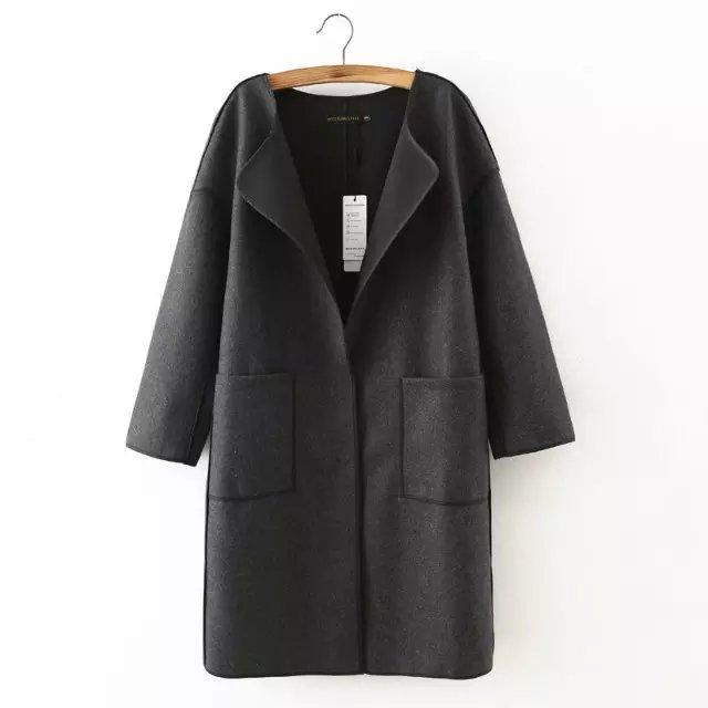 Fashion Winter Women Pockets Female button Gray Woolen ...