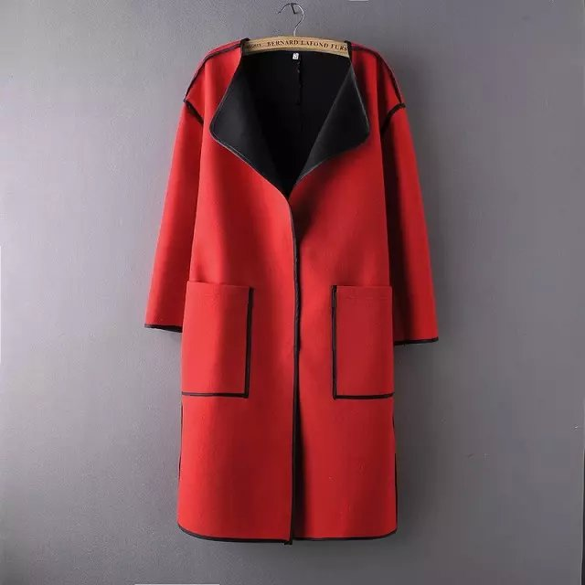 Fashion Winter Women Pockets Female button Red Woolen ...