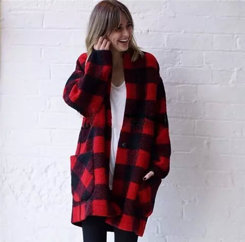 Fashion winter women Red Plaid print pockets button ...