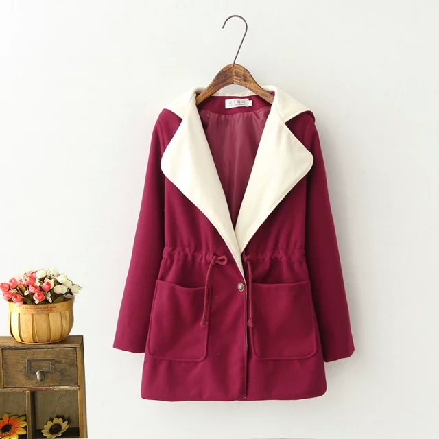 Fashion Winter Women red white hooded Coat drawstring ...