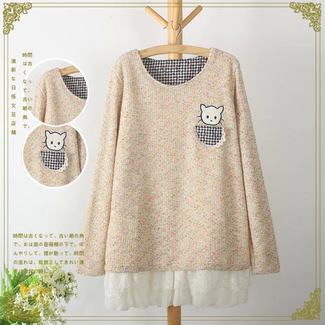 Fashion winter Women sweet knitted Colored yarn cat ...