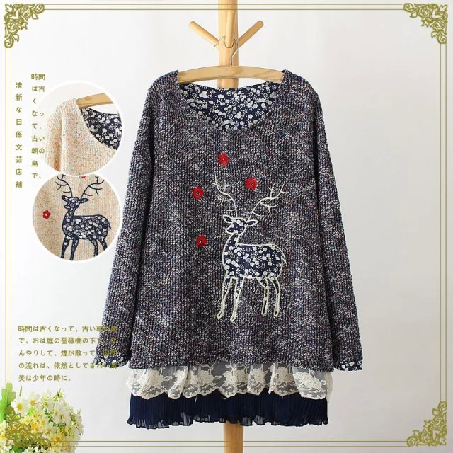 Fashion winter Women sweet knitted Colored yarn deer ...