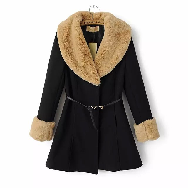 Fashion Winter Women Thick Coat With Belt Woolen Button ...