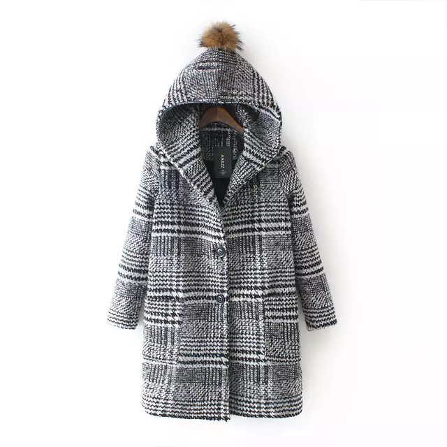 Fashion winter women thick warm Plaid print pocket button ...