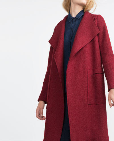 Fashion winter women work wear elegant Red pockets coats ...