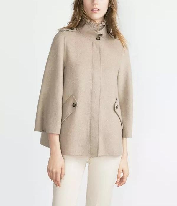 Fashion winter women work wear Epaulet Standing Collar ...