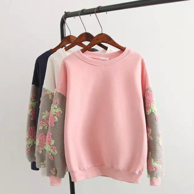 Fashion women 3D floral pattern woolen patchwork sleeve ...