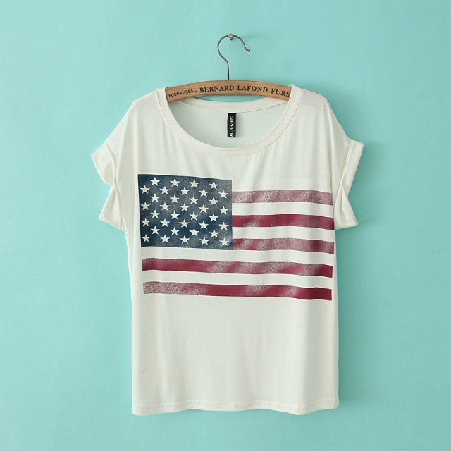 Fashion Women American flag print O-neck Short Sleeve ...