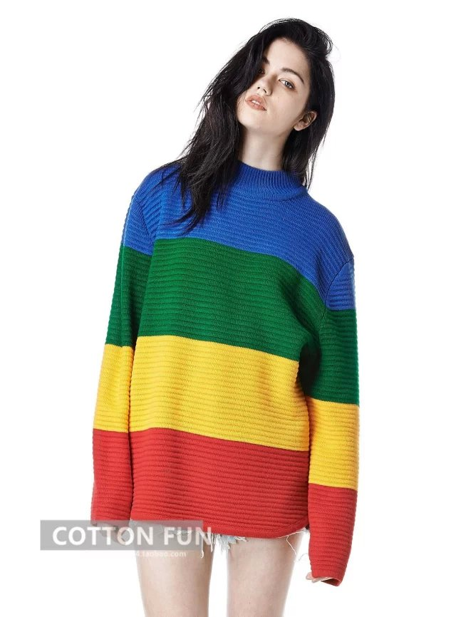 Fashion women American style color striped pattern pullover ...