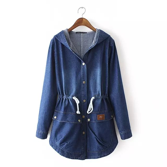 Fashion Women Autumn Blue Denim Hooded button drawstring ...