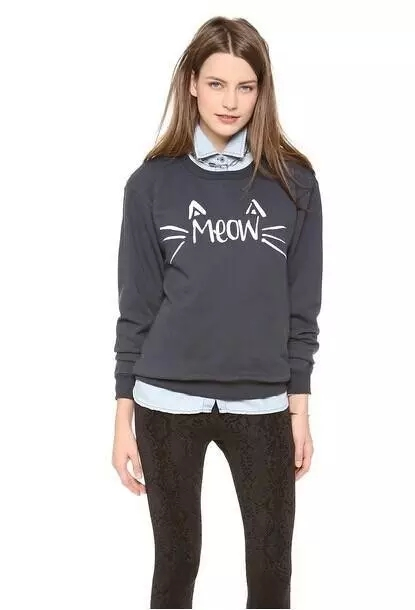 Fashion Women Autumn Gray Letter print O-Neck long Sleeve ...