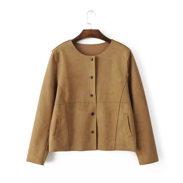 Fashion Women Autumn Suede Leather Khaki Jacket button ...