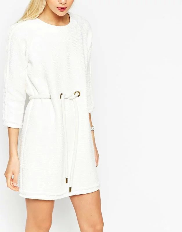Fashion Women Autumn White Drawstring mini A-Line Dress ...