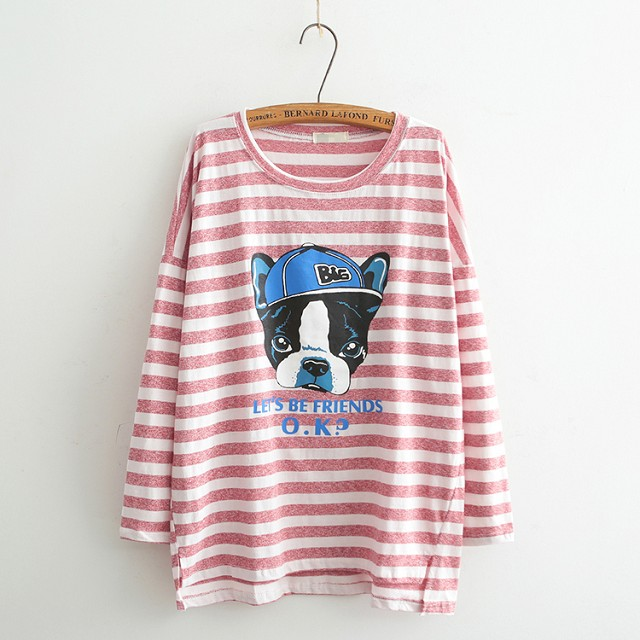 Fashion women Autunm red Striped dog Letter print O-...