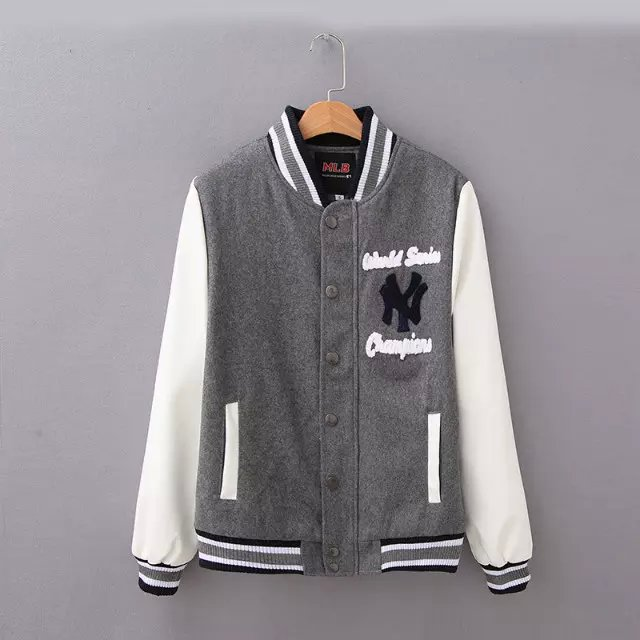 Fashion Women baseball Jacket gray Letter Embroidery ...