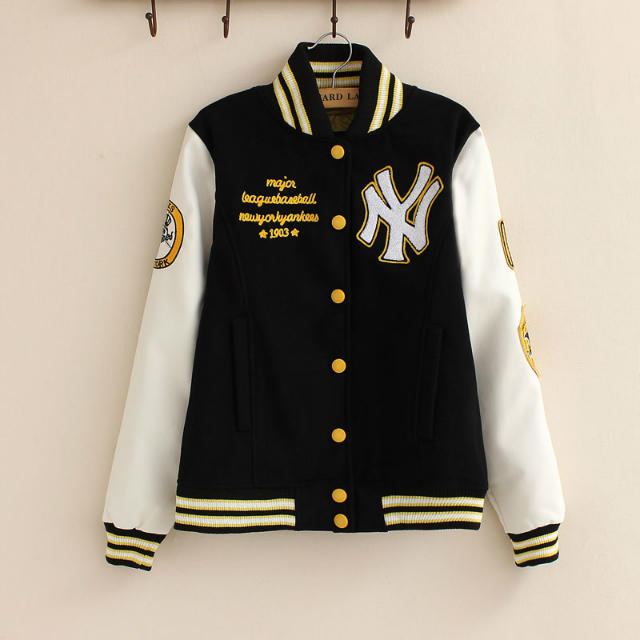 Fashion Women baseball Jacket Letter number Embroidery ...